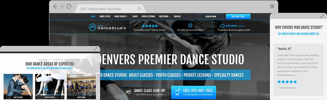 Dance Studio Website Design - Mobile Responsive Templates