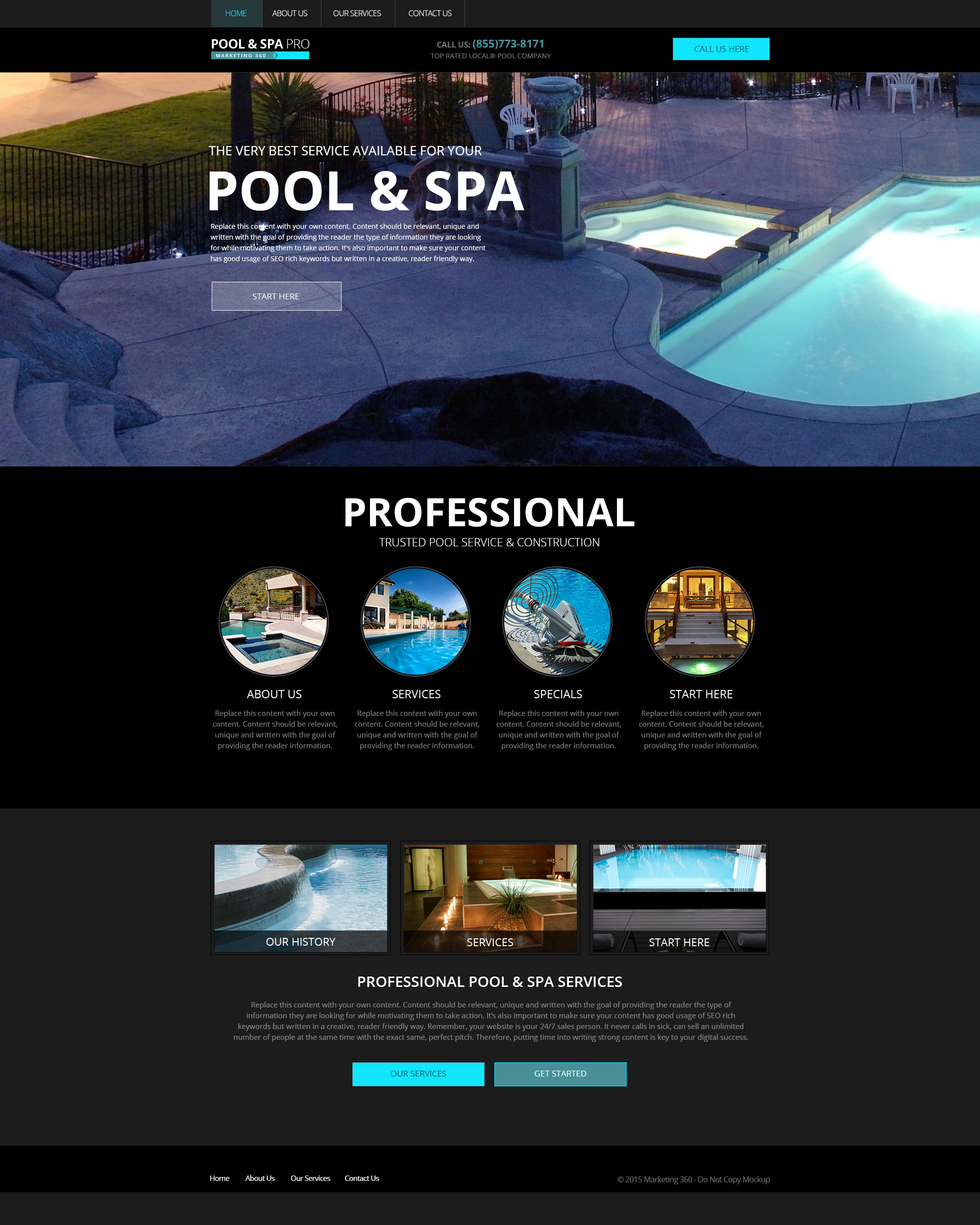 Pool website templates mobile responsive designs for for Pool design website