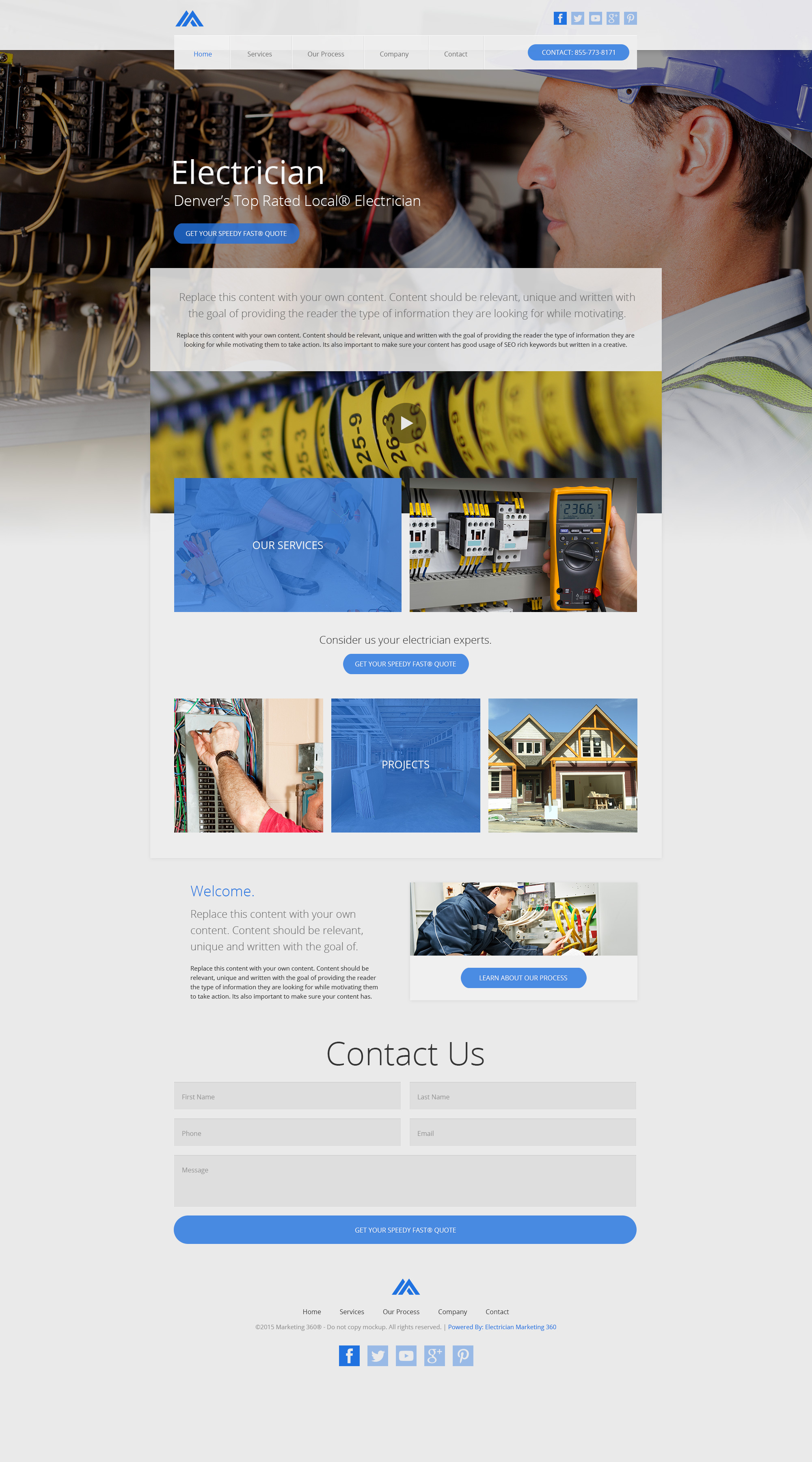 electrician websites templates mobile responsive designs