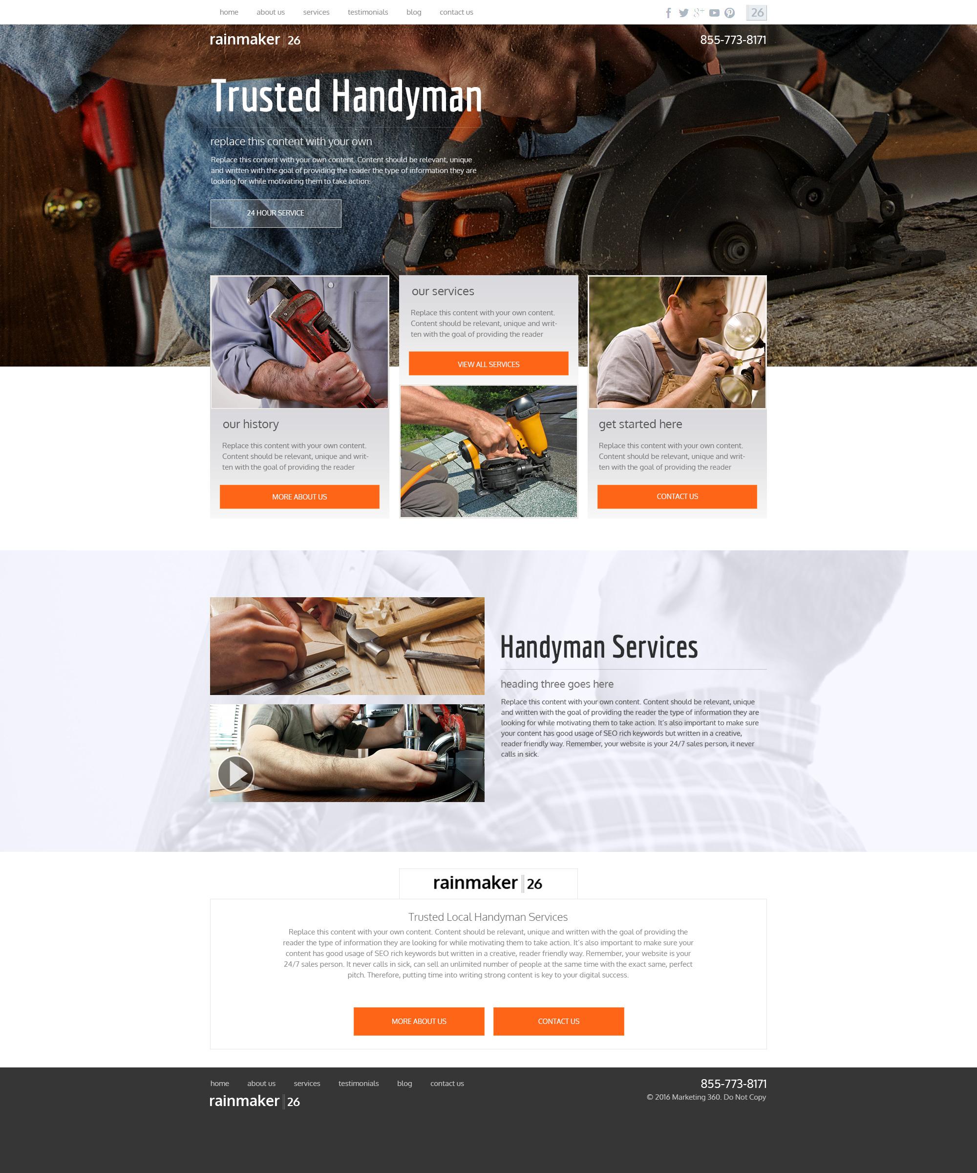 Handyman Website Templates - Mobile Responsive Designs